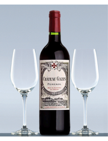 Coffret vin Pomerol Château Gazin 2008 et 2 verres de dégustation