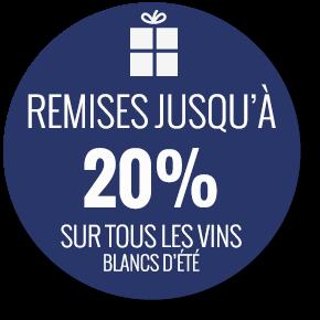 Remises jusqu'à 20% sur tous les vins blancs d'été