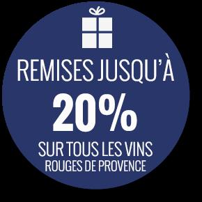 Remises jusqu'à 20% sur les vins rouges de Provence