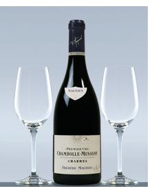 Coffret vin Bourgogne Chambolle-Musigny 1er Cru Les Charmes et 2 verres de dégustation