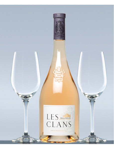 Coffret Les Clans rosé et 2 verres de dégustation