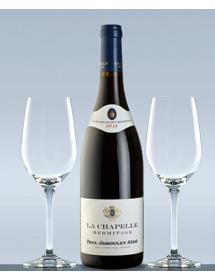 Coffret vin Hermitage La Chapelle et 2 verres de dégustation
