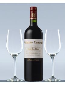 Coffret vin Saint-Emilion Grand Cru Classé et 2 verres de dégustation