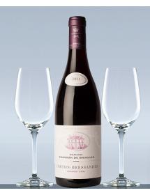 Coffret vin Bourgogne Corton Grand Cru et 2 verres de dégustation