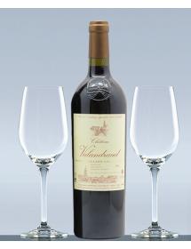 Coffret vin Saint-Emilion 1er Grand Cru Classé et 2 verres de dégustation