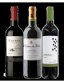 Coffret vin rouge cépage Malbec 3 bouteilles