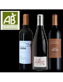 Coffret vin rouge Agriculture Biologique 3 bouteilles