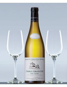 Coffret vin Chablis Grand Cru et 2 verres de dégustation