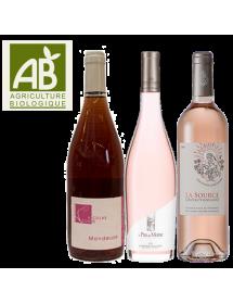 Coffret vin rosé Découverte Agriculture Biologique 3 bouteilles