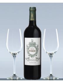 Coffret vin Bordeaux Margaux Grand Cru Classé et 2 verres de dégustation