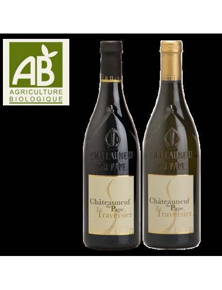 Coffret vin Rhône Châteauneuf-du-Pape Rouge et Blanc 2 bouteilles - BIO
