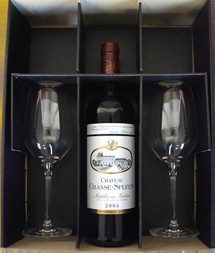 Coffret cadeau vin 1 bouteille et 2 verres