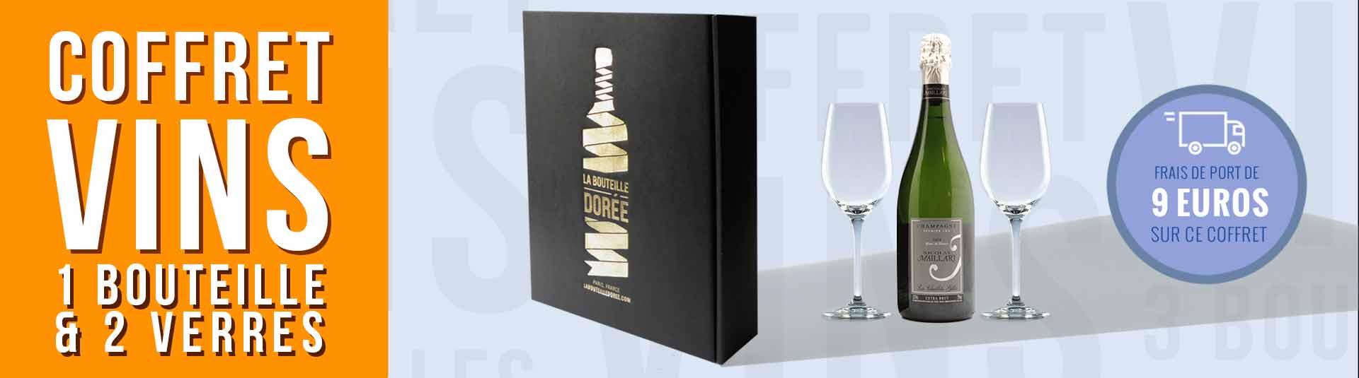 Coffret 1 bouteille de Champagne et 2 verres