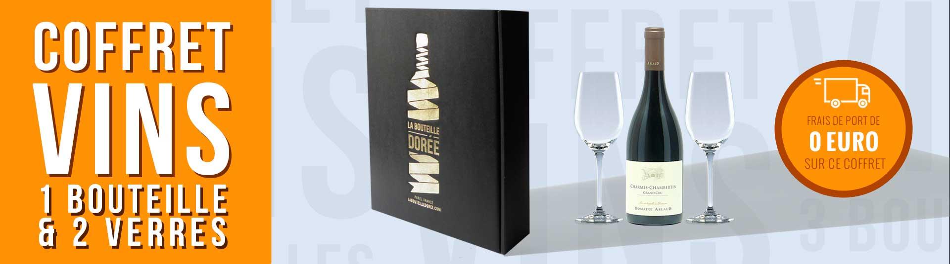 coffret vin Charmes Chambertin et 2 verres