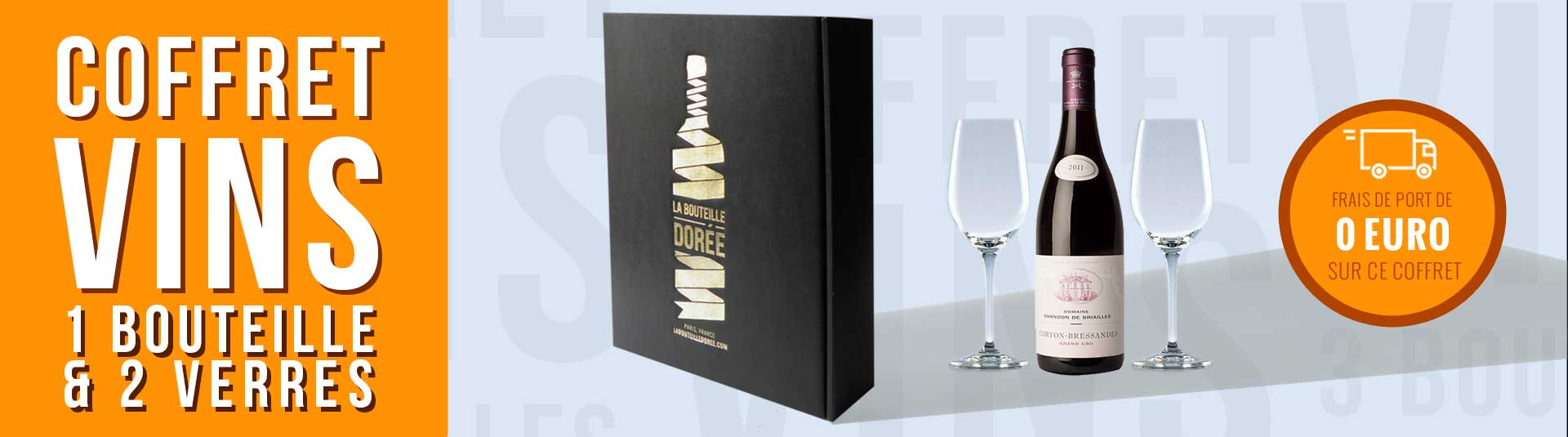 coffret vin Corton Grand Cru Les Bressandes et 2 verres de dégustation