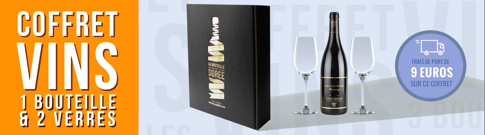 coffret vin Côte-Rôtie et 2 verres