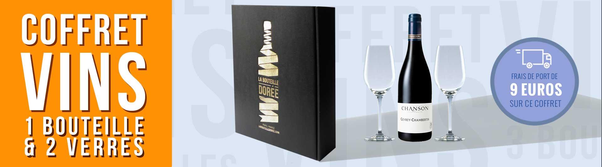 Coffret 1 bouteille de Gevrey-Chambertin et 2 verres