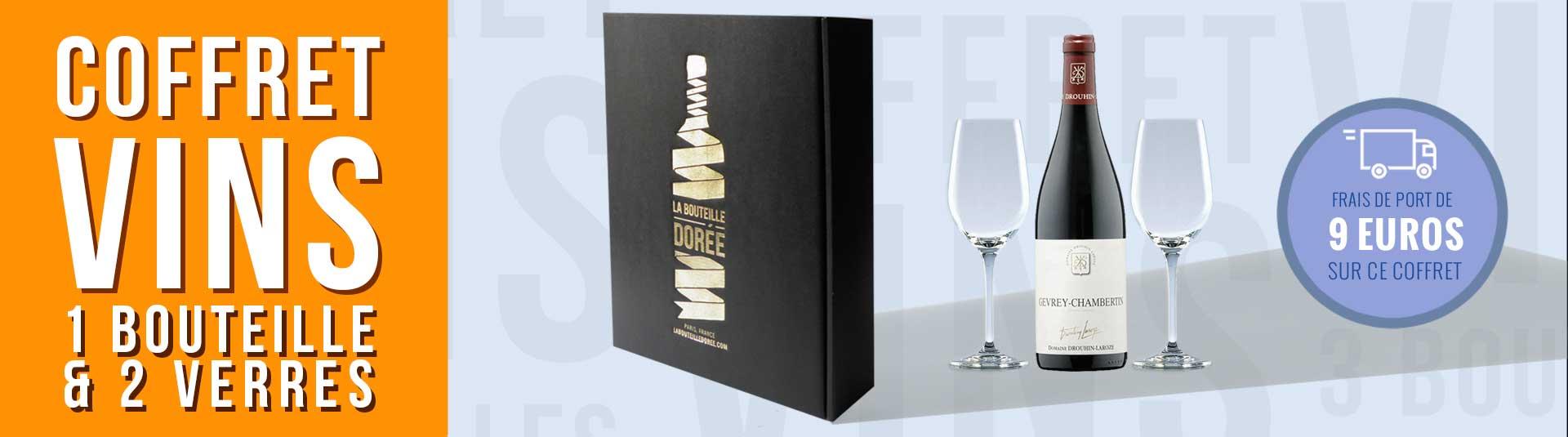 Coffret 1 bouteille de Gevrey-Chambertin 2001 et 2 verres