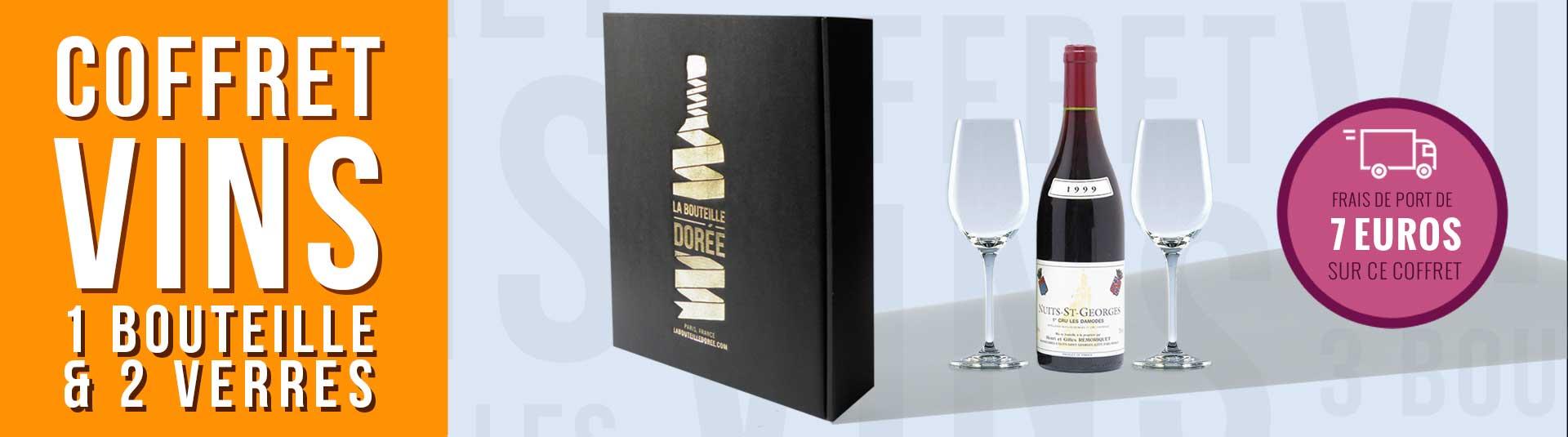 coffret vin Bourgogne 1er Cru et 2 verres