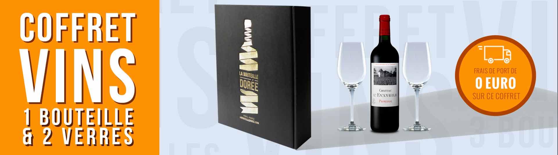Coffret vin Pomerol et 2 verres de dégustation