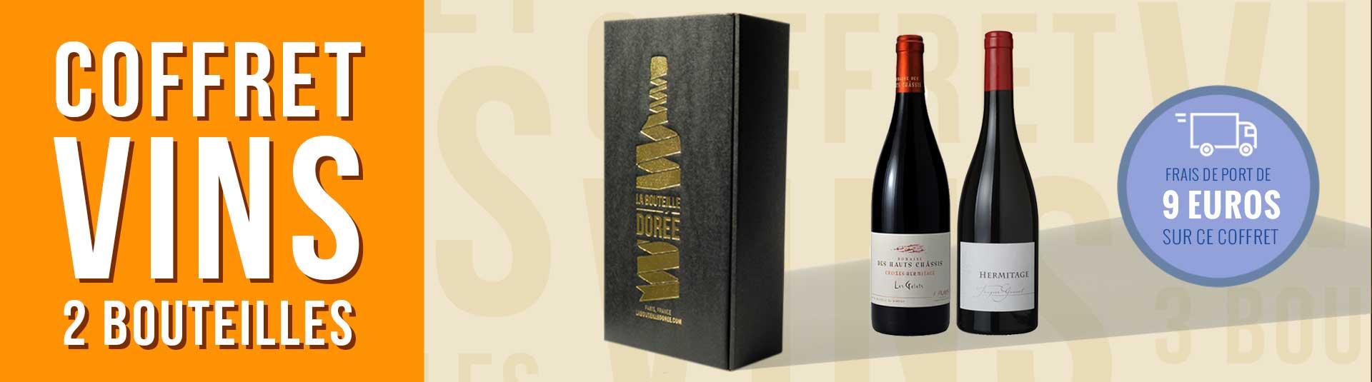 coffret vin Rhône 2 bouteilles Hermitage et Crozes-Hermitage