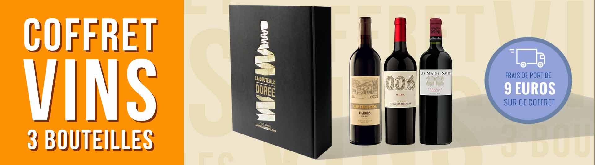 coffret vin 3 bouteilles cépage Malbec Bordeaux, Cahors et Argentine