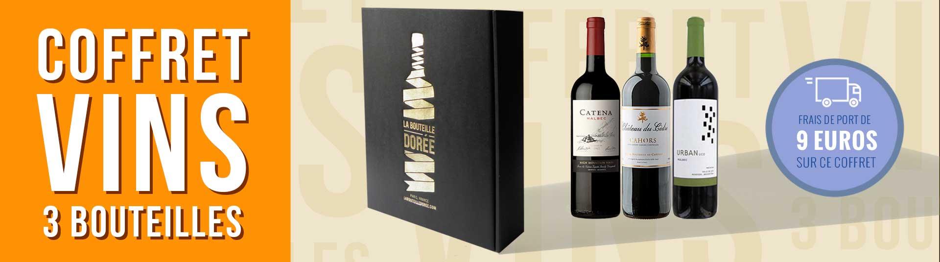 coffret vin 3 bouteilles cépage Malbec, Cahors et Argentine