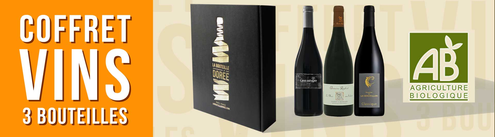Coffret vin Languedoc Agriculture Biologique 3 bouteilles