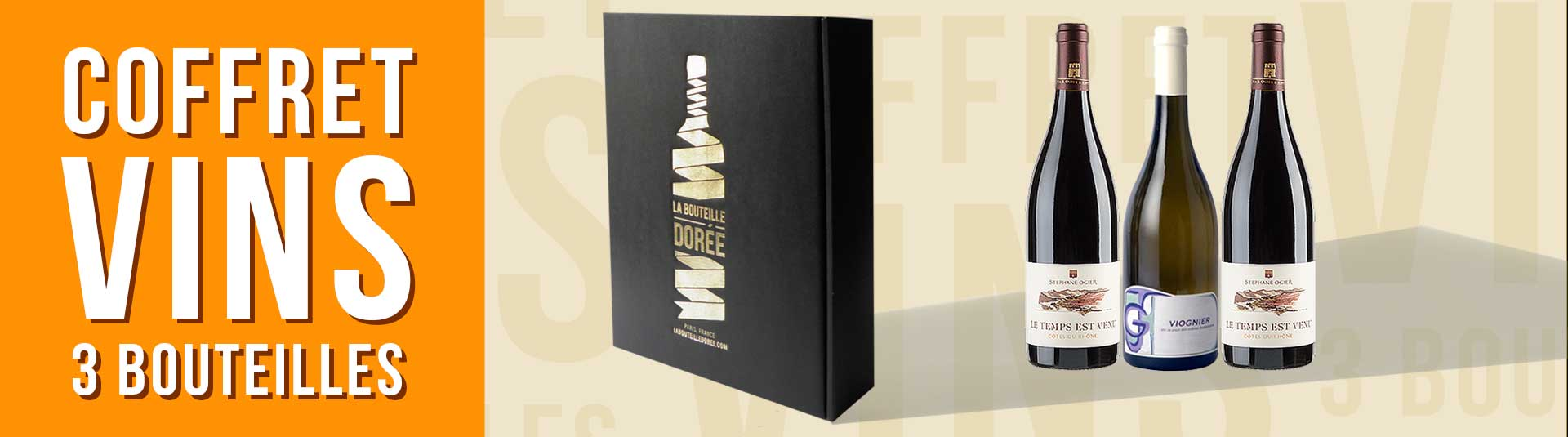 coffret vin Rhône 3 bouteilles cépages Viognier et Grenache