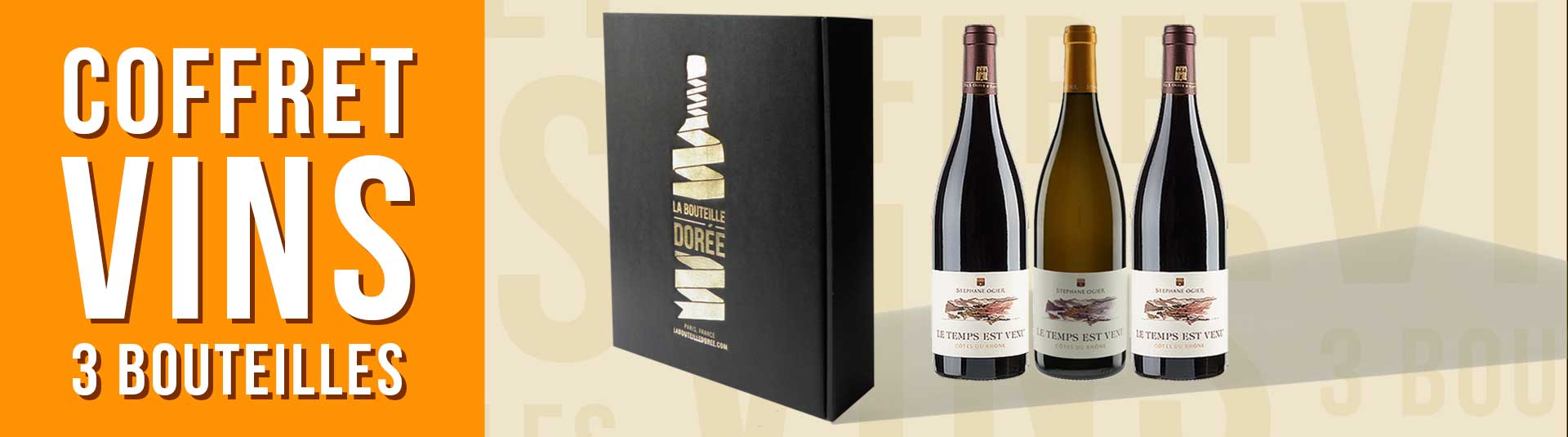 coffret vin Rhône 3 bouteilles cépages Roussanne, Grenache Noir et Grenache Blanc