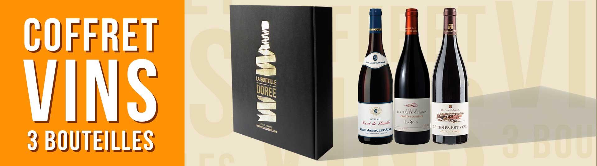 coffret vin rouge Rhône 3 bouteilles cépages Syrah et Grenache