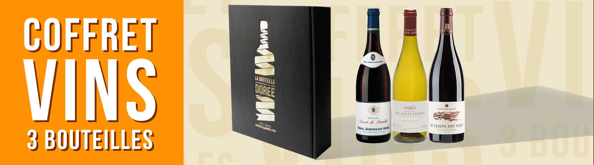 coffret vin Rhône 3 bouteilles cépages Syrah, Grenache, Marsanne et Roussanne