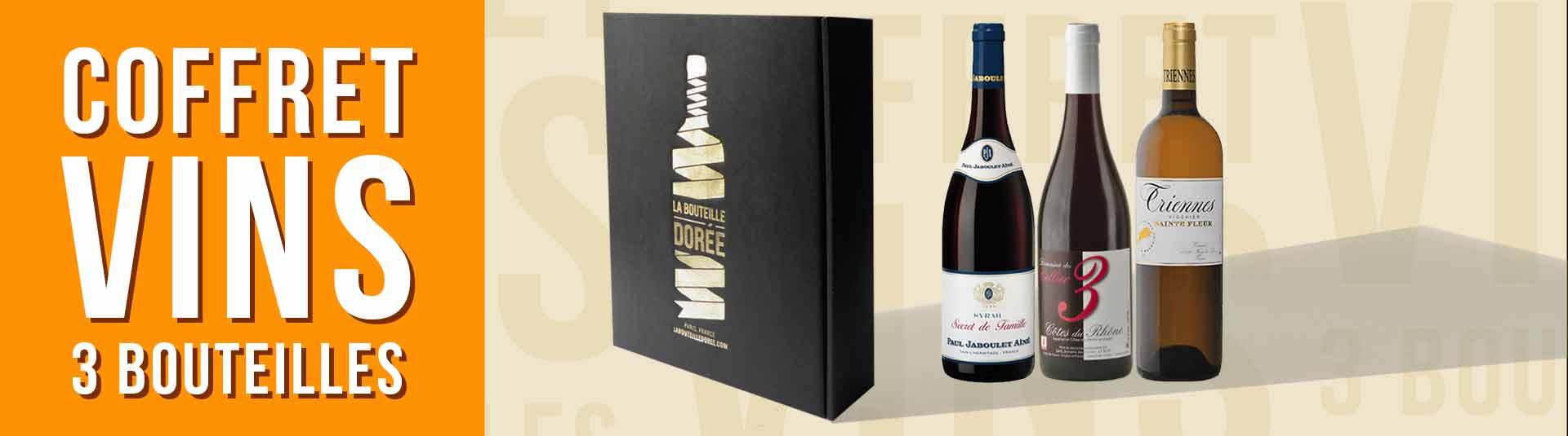 coffret vin Rhône 3 bouteilles cépages Viognier, Syrah et Grenache