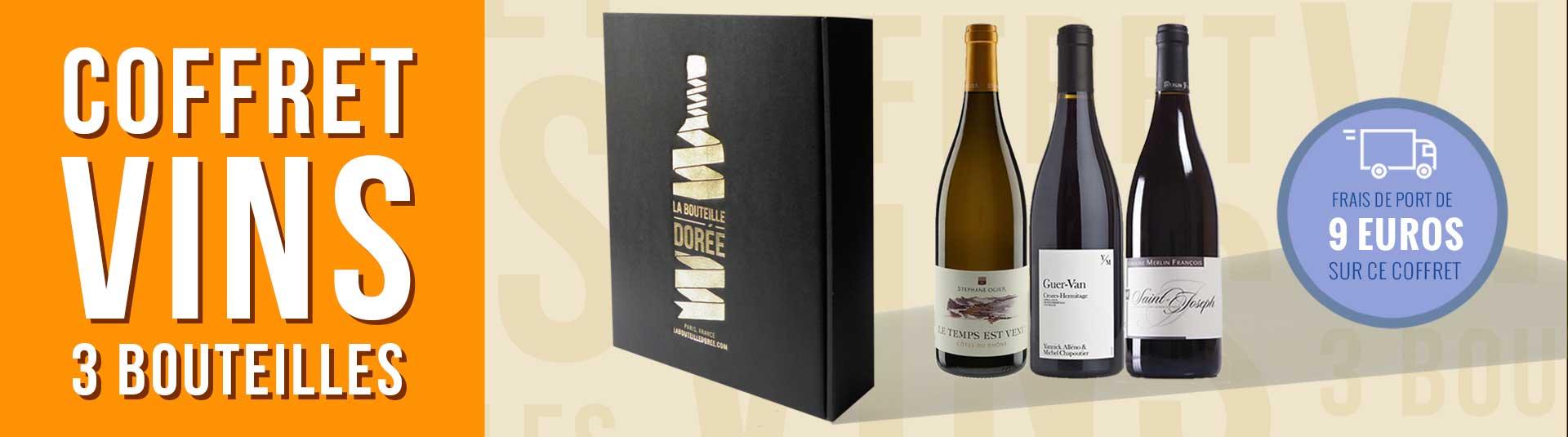 coffret vin Rhône 3 bouteilles cépages Syrah, Grenache et Roussanne