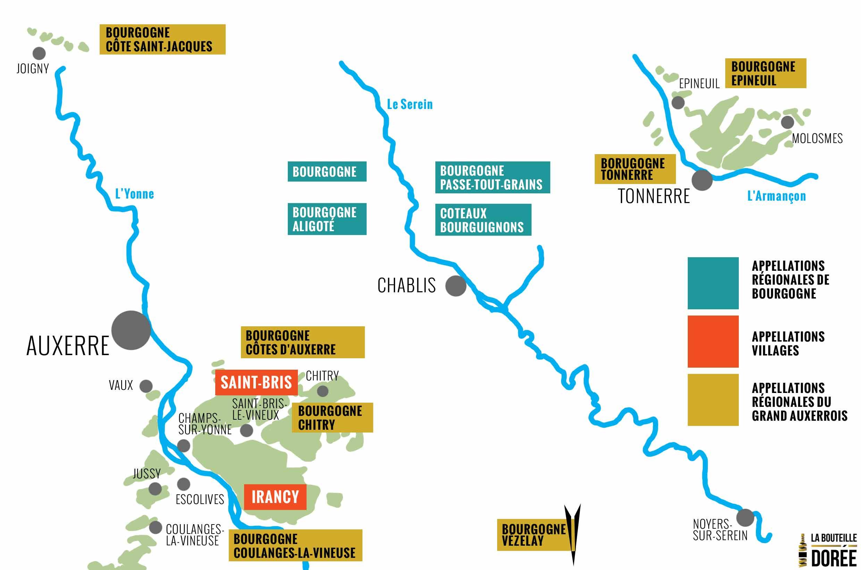 Carte du vignoble de Burgogne Grand Auxerrois